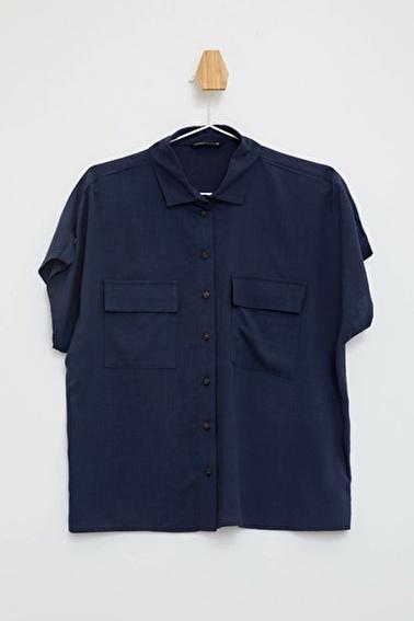 DeFacto Kısa Kollu Gömlek Mavi